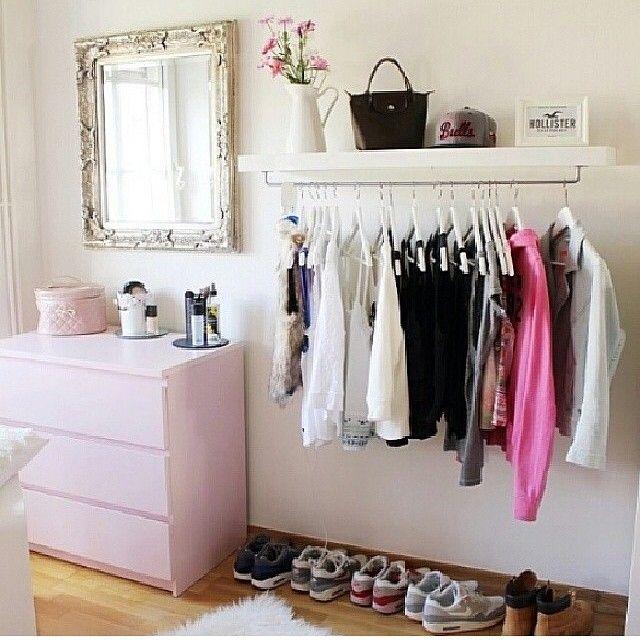 Clothing rack shelf closet ideas bedroom decor home - Bedroom furniture for hanging clothes ...