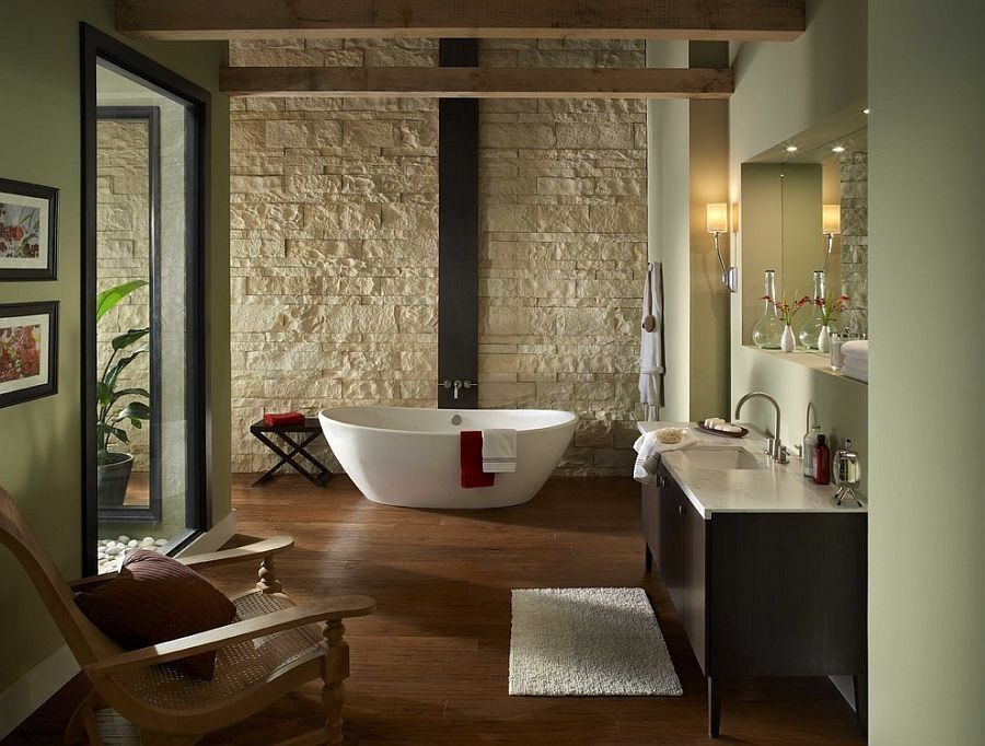 L Shaped Bathroom with White Stone Wall containing: Wood Flooring ...