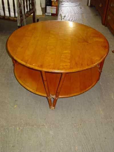 Heywood Wakefield Ashcraft 2Tiered Round Coffee Table leg style