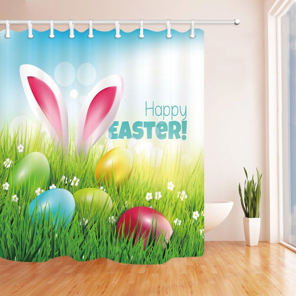 Bathroom Fabric Shower Curtain Sets Waterproof Spring Easter Bunny Eggs Hooks