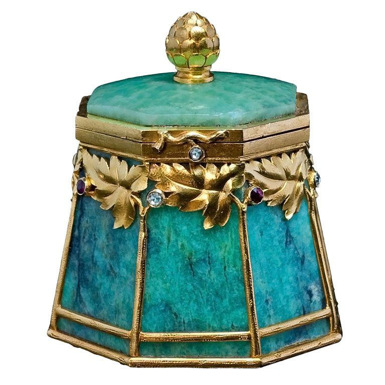 Bolin Art Nouveau Gold Mounted Amazonite Box Darts Box and Gold