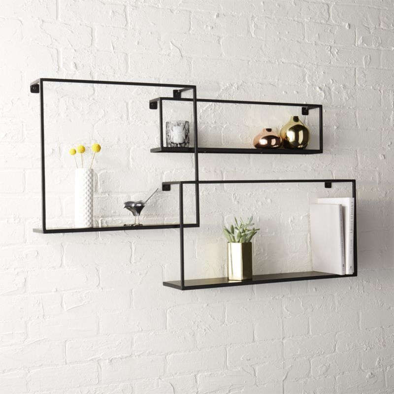 Set Of 3 Iron Floating Shelves Reviews Black Floating Shelves