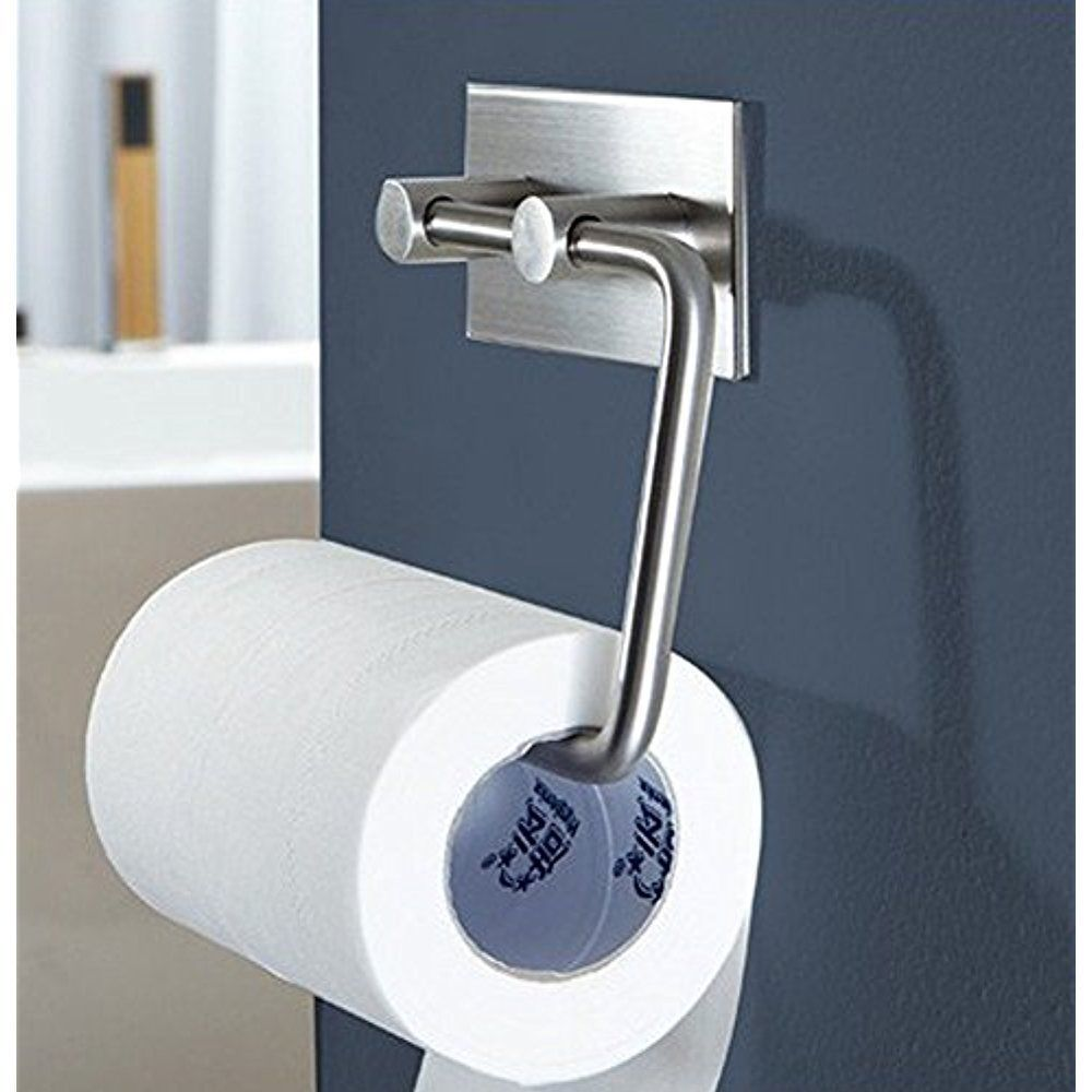 Toilet Paper Holder Storage Tissue Roll Wall Mount Adhesive