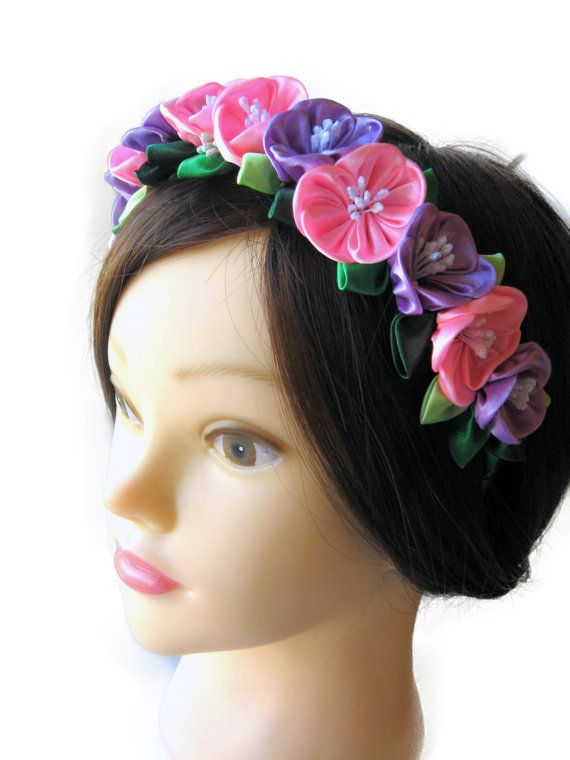 Flower bridal wreath Pink purple flower headband от SummerForYou