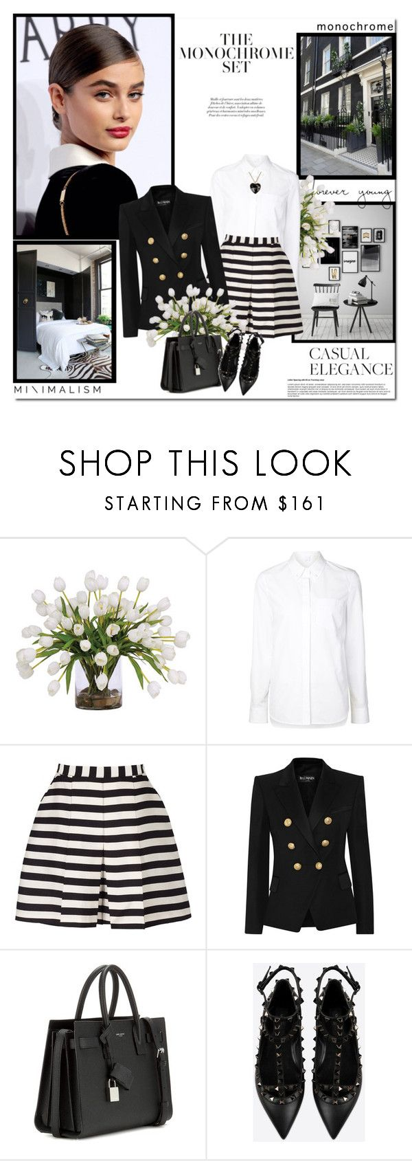 """""""Make It Monochrome"""" by lilly-2711 ❤ liked on Polyvore featuring Lux-Art Silks, Alexander Wang, Reiss, Balmain, Yves Saint Laurent, Valentino and Moschino"""