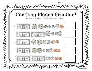 counting money practice worksheet coins and dollar bills 4 little baers teachers pay. Black Bedroom Furniture Sets. Home Design Ideas