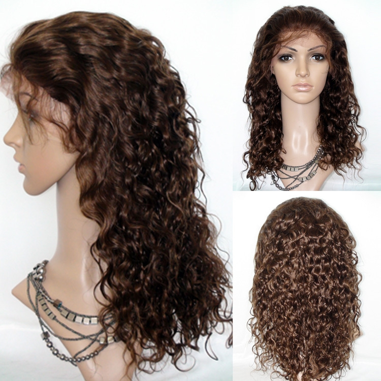 """72.31$  Buy now - http://alij78.worldwells.pw/go.php?t=1390646042 - """"Glueless Front Lace Wigs 4# Dark Brown Curly 8"""""""" to 24"""""""" Indian Virgin Remy Human Hair 120% Density Quality Good Free Shipping"""""""