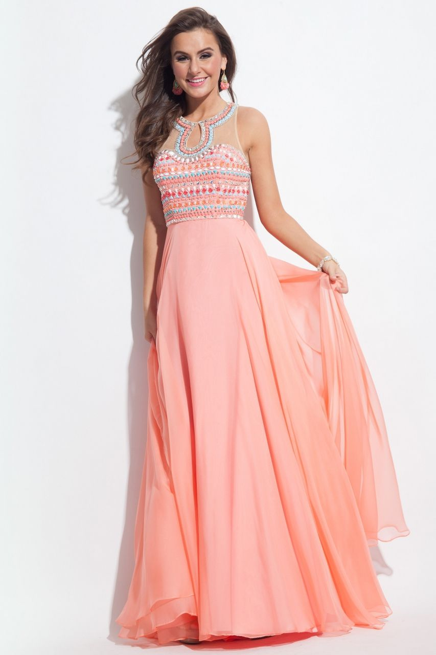 Modest and Formal Chiffon Halter A-Line Long Gown by Rachel Allan Princess Style 2057. Call 1-815-782-8877 to Order Your Rachel Allan Princess Dress 2057 Today!