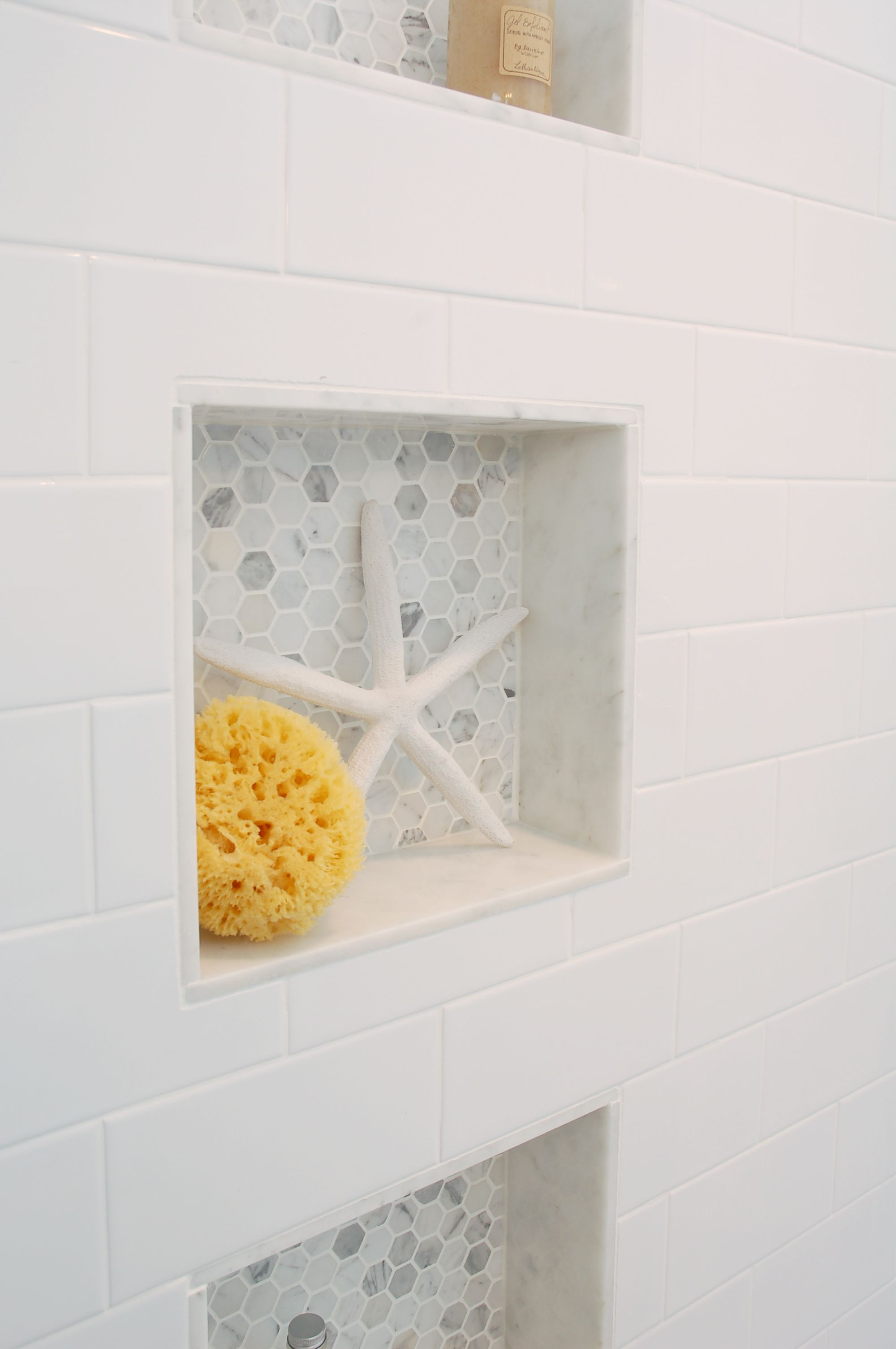 Recessed shower shelving shelves ledge niche hex tile 1 hexagon tile carrera marble Marble hex tile bathroom floor