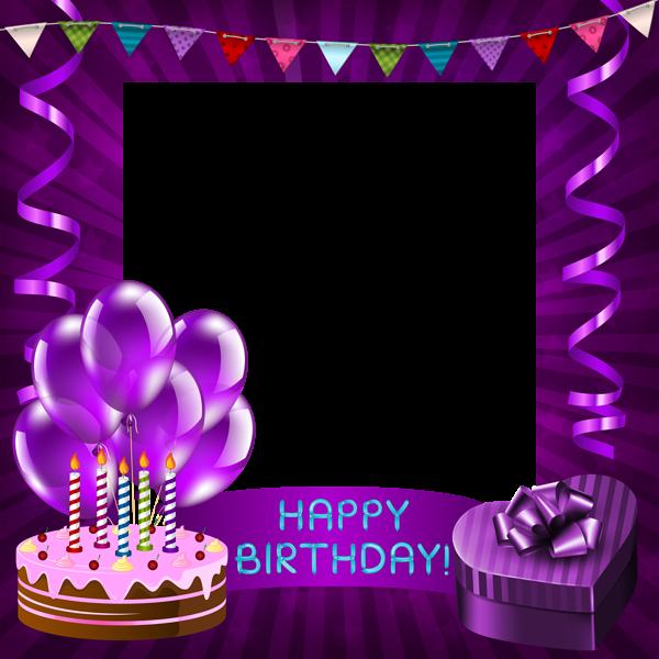 Happy Birthday Purple Transparent PNG Frame | Happy Birthday Frames ...
