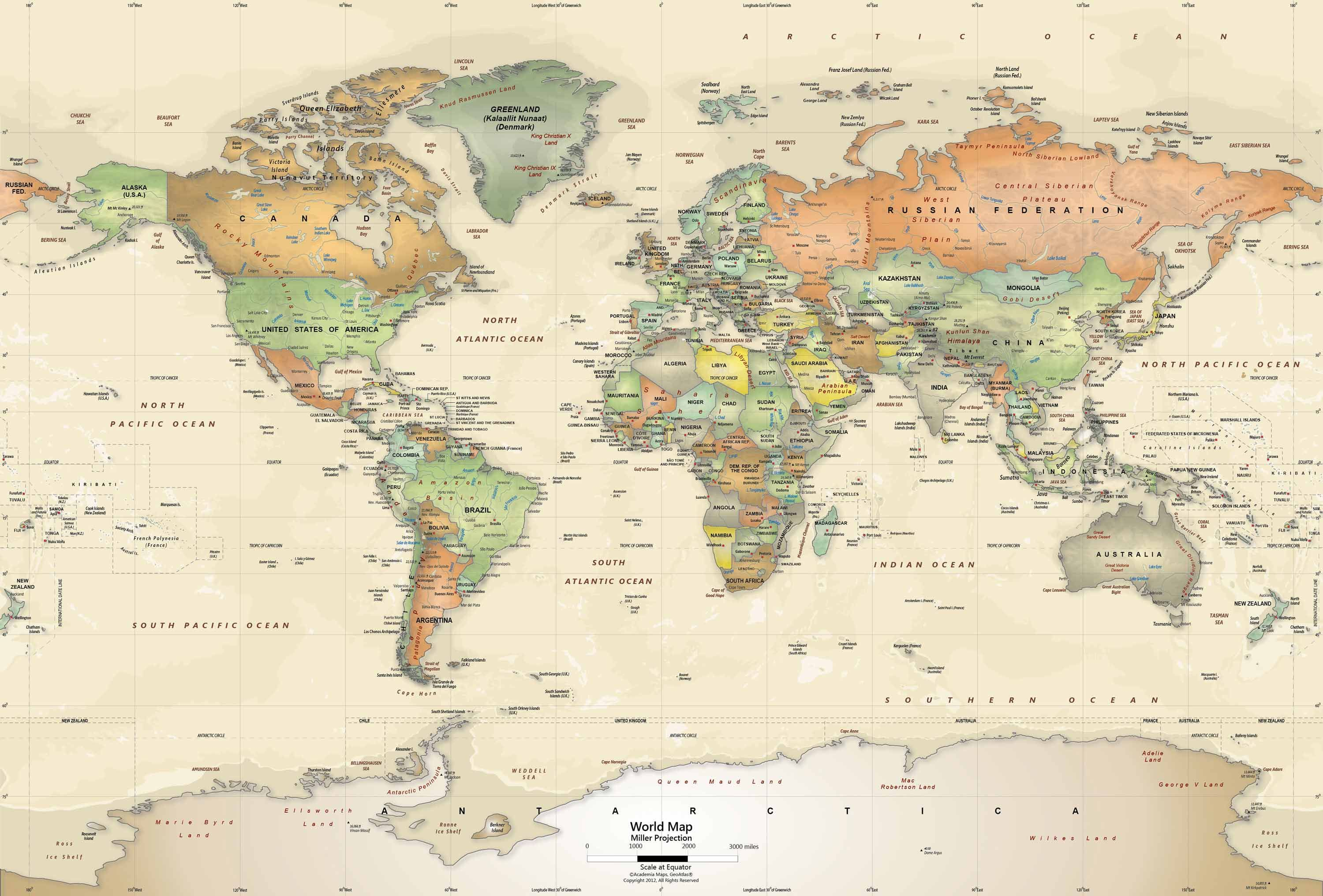 Antique Oceans World Political Map Wall Mural Miller Projection Where In The Are Our Yas