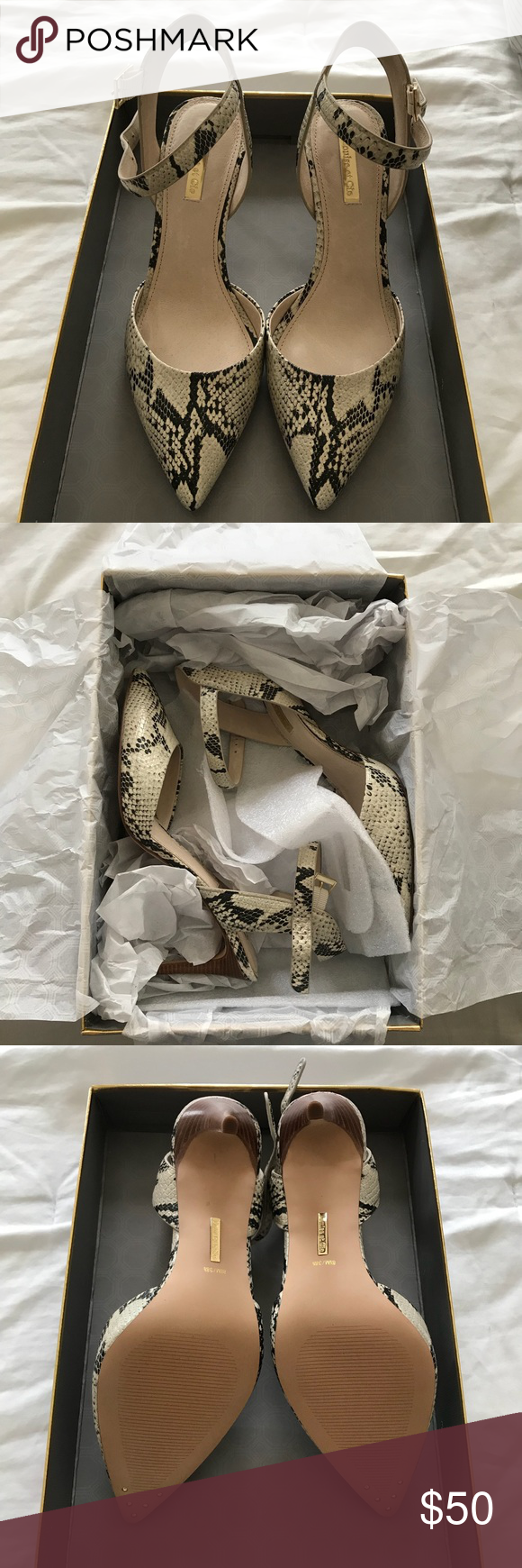 """d207c89fff52 Louise et Cie Lo-Kota Heels Snake print leather heels with """"natural"""" base.  Purchased at Nordstrom and only worn to try on. New in box size 8.5."""
