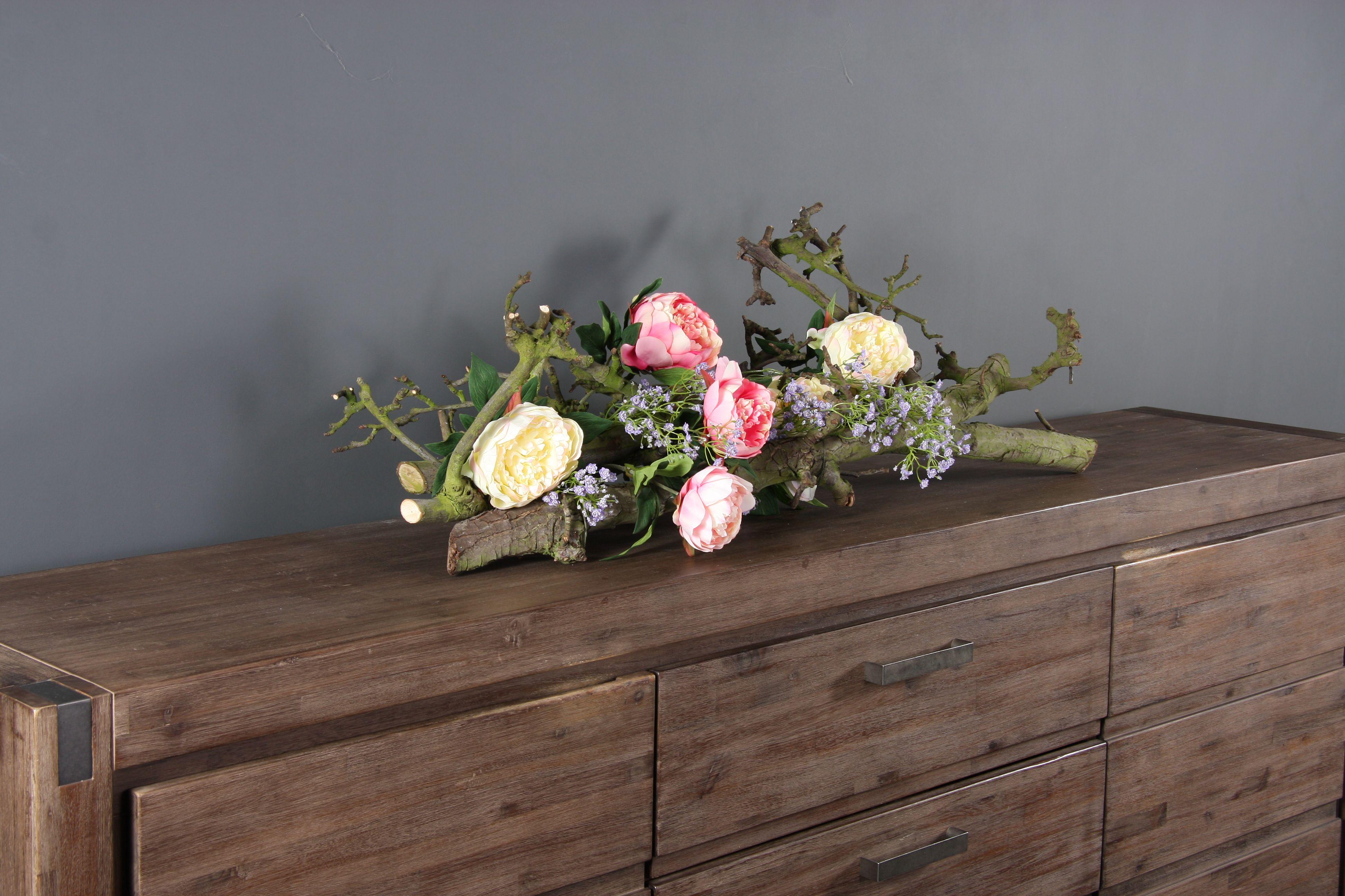 Decoratie tak naturel met zijde bloemen, mooi en makkelijk te onderhouden  www decoratietakken
