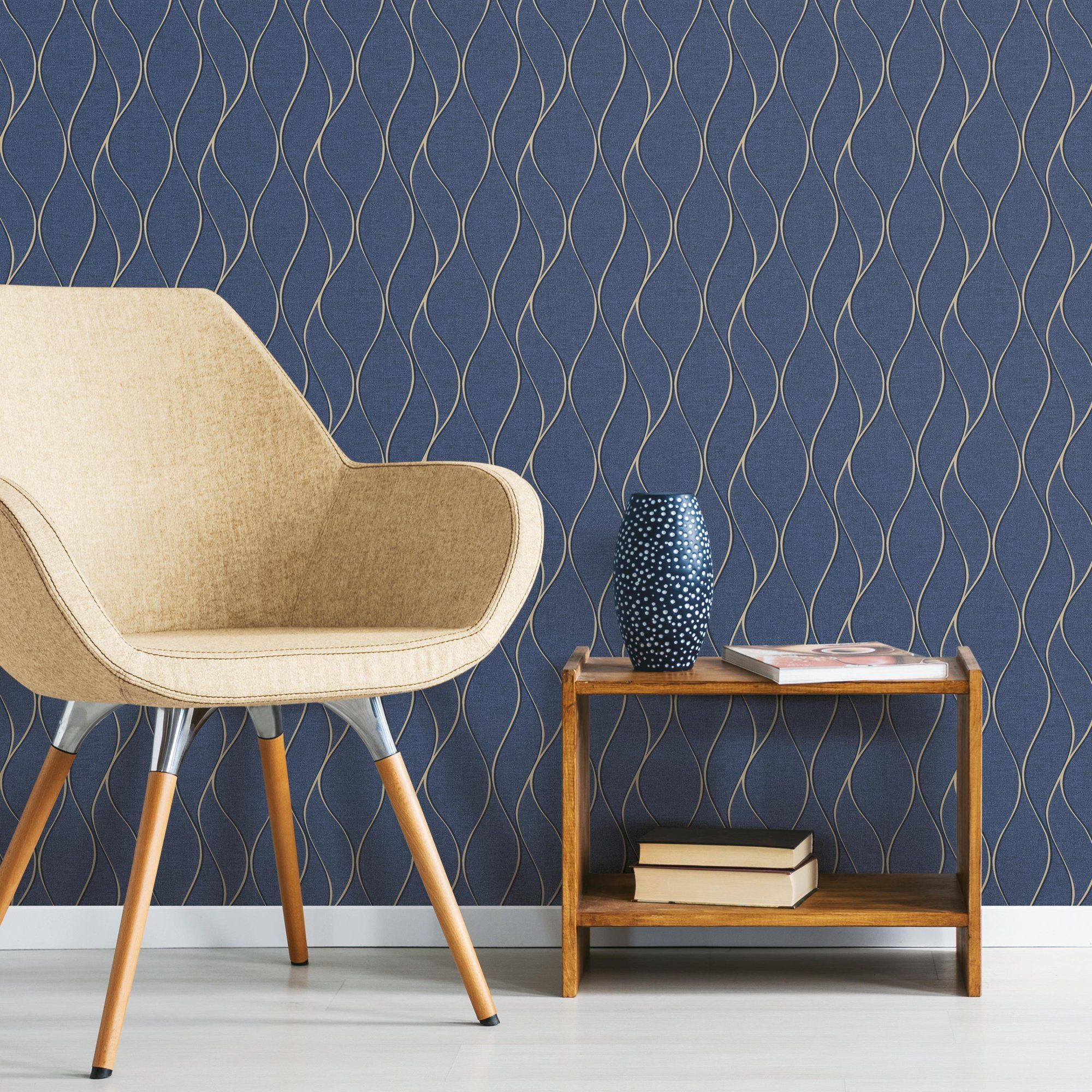Roommates Navy Blue Wave Ogee Peel And Stick Wallpaper Walmart Com Room Visualizer Peelable Wallpaper Office Wallpaper