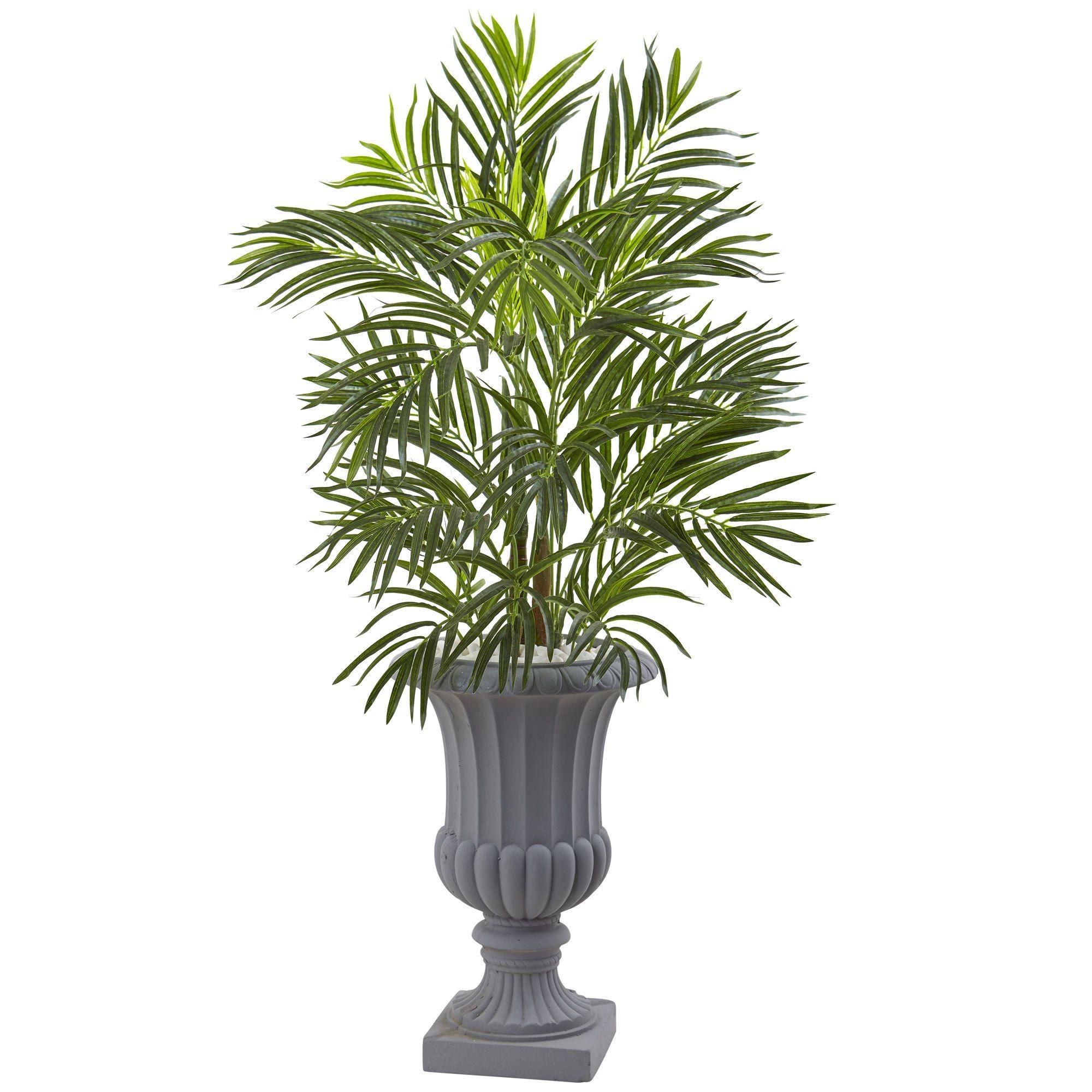 Areca palm tree with gray urn uv resistant indooroutdoor