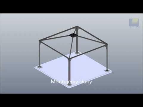 Montaż altany kupionej w gotowej formie w sklepie ogrodniczym. Instrukcja ukazująca poszczególne etapy prac montażowych: od wylania wylewki pod altanę, poprzez składanie szczytu dachu i poprzeczek, do montowania paneli dachowych. Zobacz film, aby oszacować ilość czasu potrzebną na złożenie altanki.