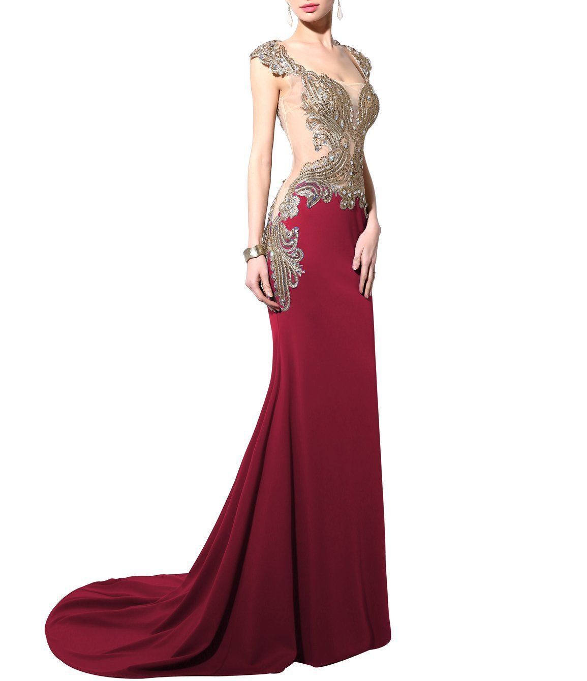 Annieus bridal womenus embroidery long evening dresses mermaid prom