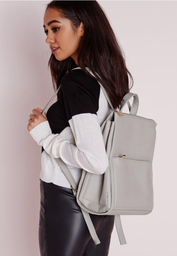 Missguided - Sac à dos minimal gris clair
