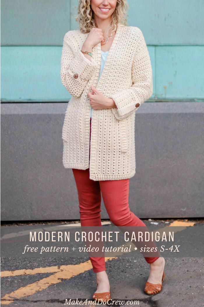Modern Crochet Cardigan - Free Pattern + Video Tutorials   Brei ...