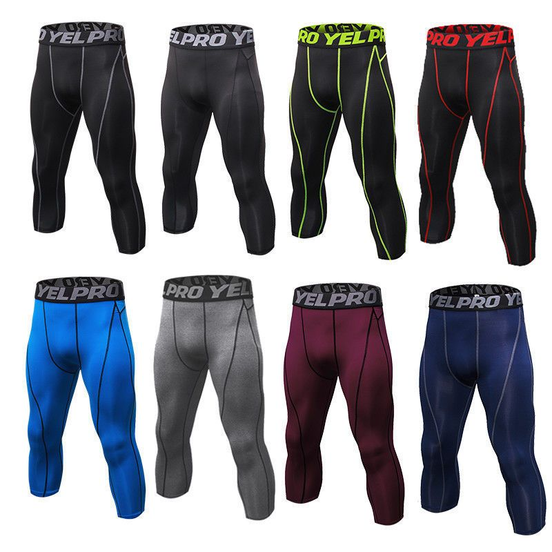 Mens compression leggings running basketball pants 34