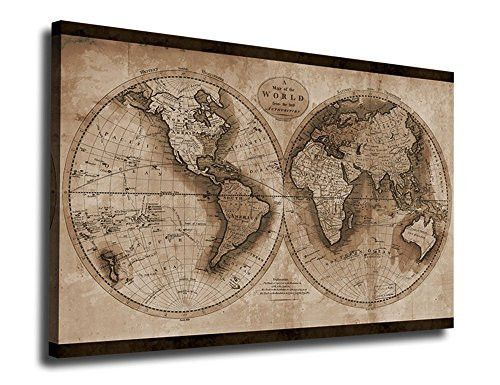 Wall art canvas prints vintage world map painting ready to hang 3 pieces large framed