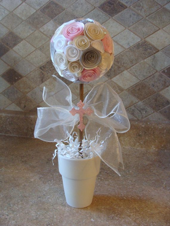 Ivory/Off White, white, Pink and silver Paper Rose Flower topiary for any party, wedding, baptism, baby shower, centerpiece or decoration