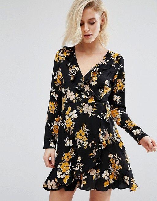 434e56b9abcd Boohoo Black Floral Ruffle Wrap Tea Dress at Asos   Spring summer ...