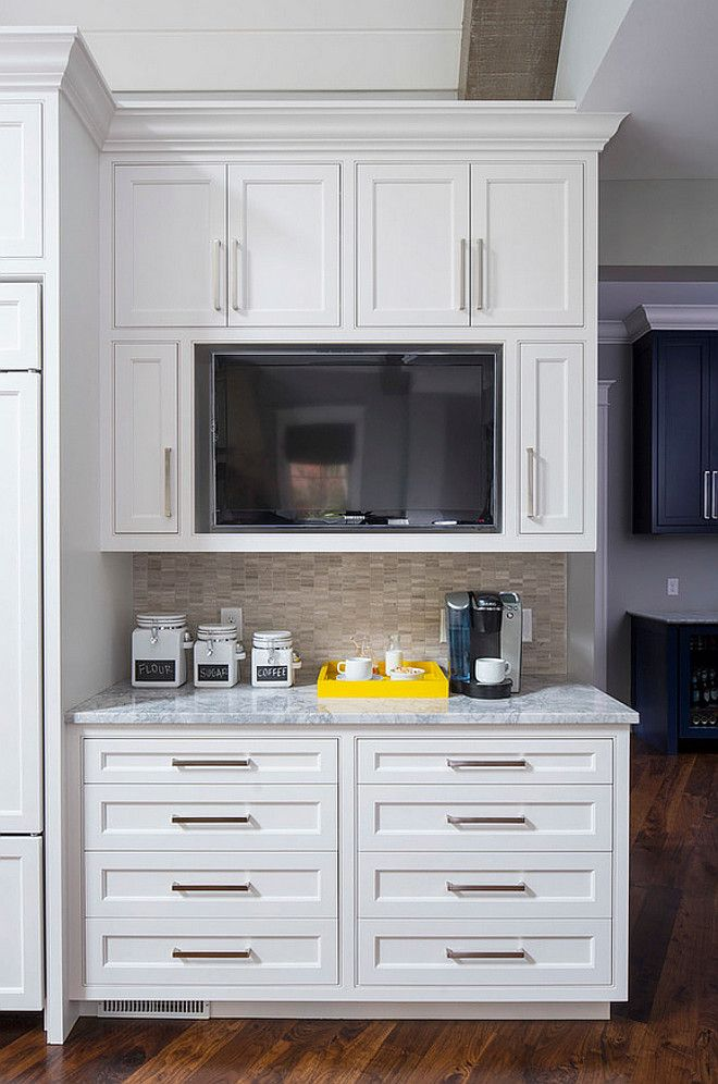 Merveilleux Cabinets Are Sherwin Williams SW 7004 Snowbound. Love The Cabinet Style And  Configuration (TV Built In), Nice Coffee Station, Counters Are Vanilla Ice  ...