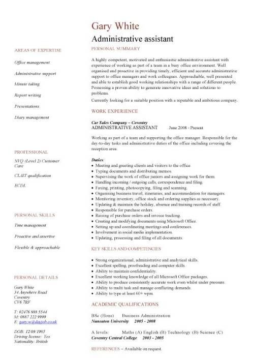 Administration cv example uk pablo. Penantly. Co.