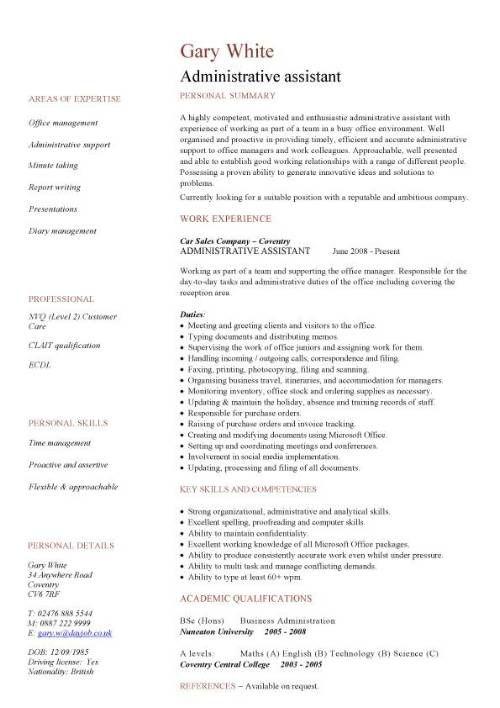 Administration Cv Template Free Administrative Cvs Administrator Job Description Offi Administrative Assistant Resume Office Administration Resume Objective