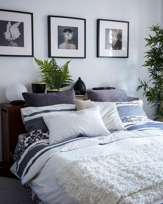 Puder og plaider i lag gør soveværelset hyggeligt
