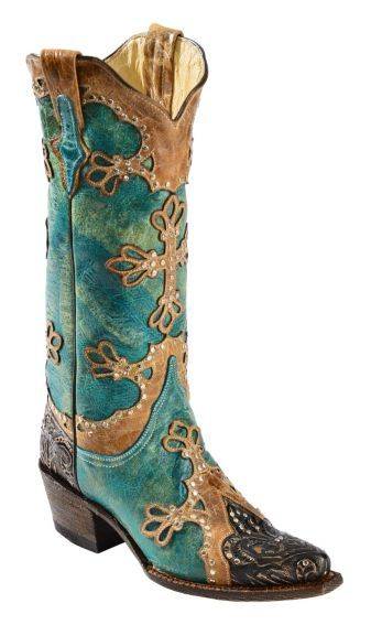 Ferrini Embossed Diva Studded Cross Overlay Cowgirl Boots - Snip Toe - Sheplers
