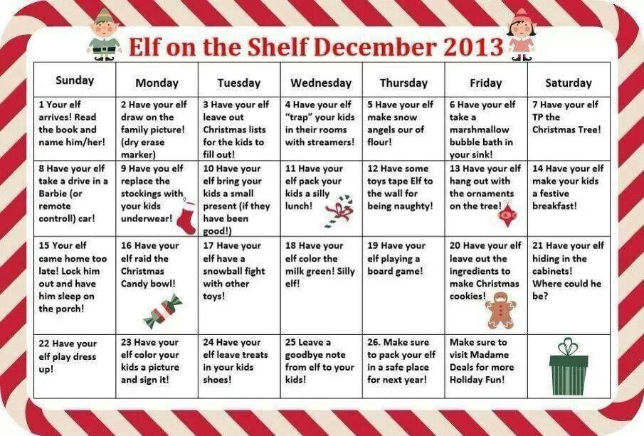 Elf calendar Elf Pinterest Elves, Shelves and Shelf ideas