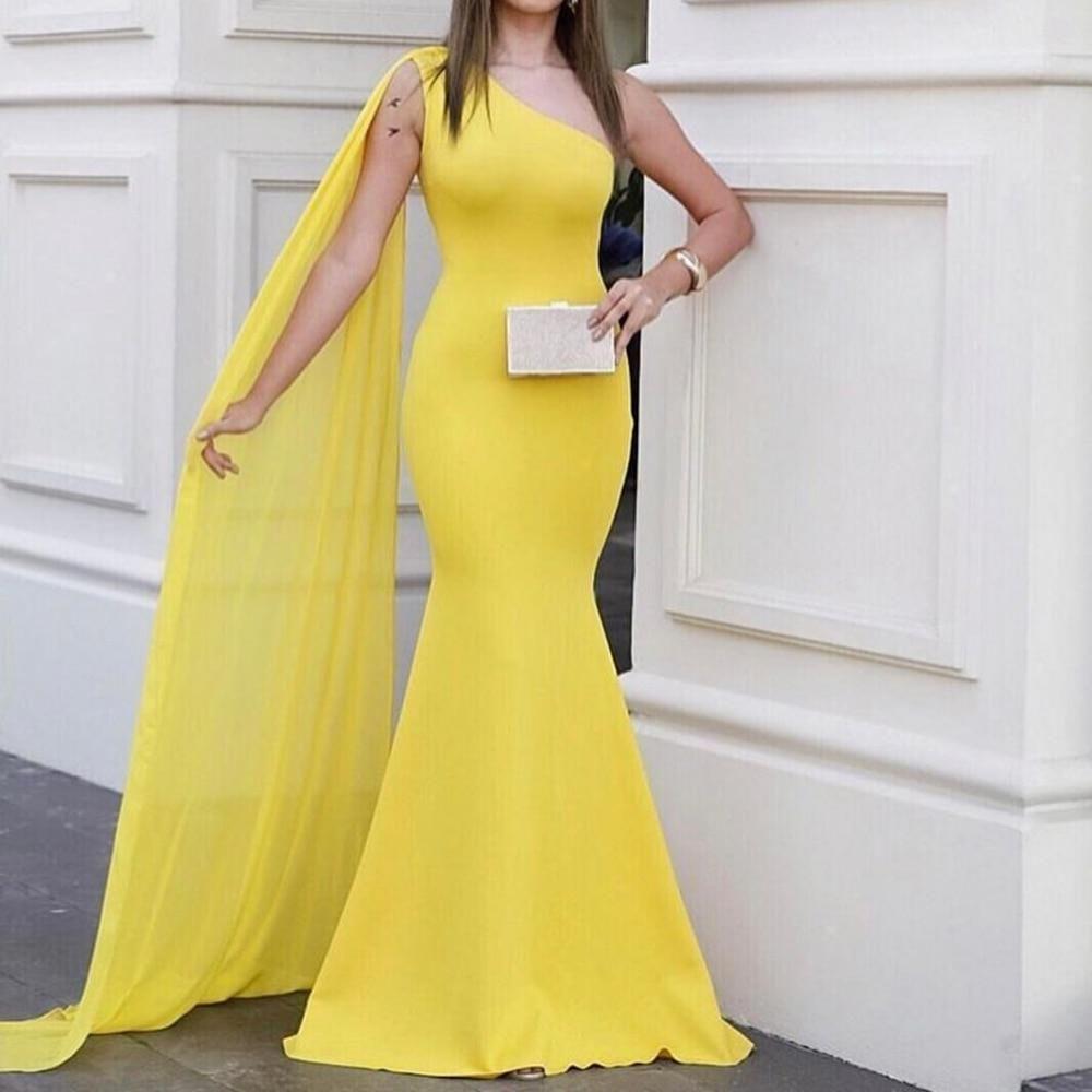 One Shoulder Sleeveless Yellow Chiffon Maxi Dress Summer ...