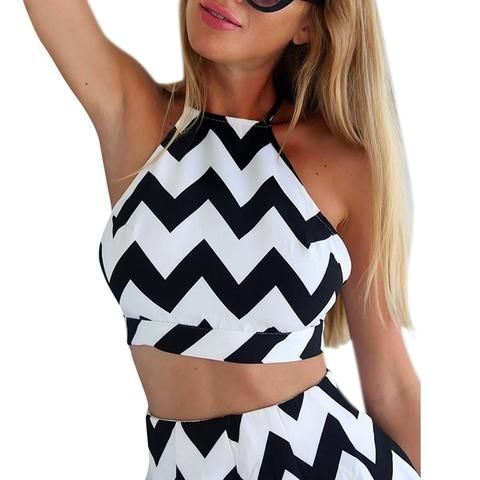 90488479f8c 2018 Sleeveless Black White Stripe Halter Backless Bow Jumpsuits Casual Sexy  Two Pieces Playsuits For Women Summer Rompers