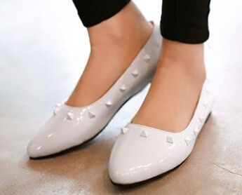Women new fashion summer Spring pointed toe sweet solid color flat heels casual shoes japanned leather large plus size 40-43