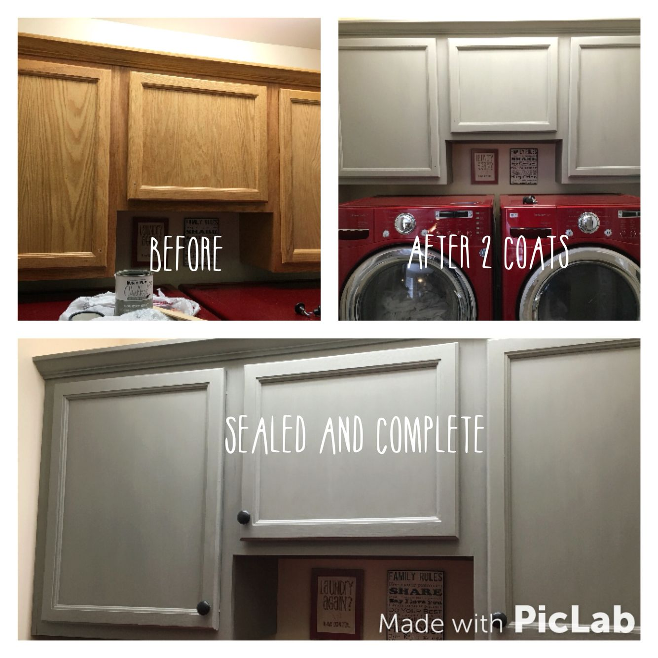 Laundry cabinet makeover! Painted with Country Gray Rustoleum ...