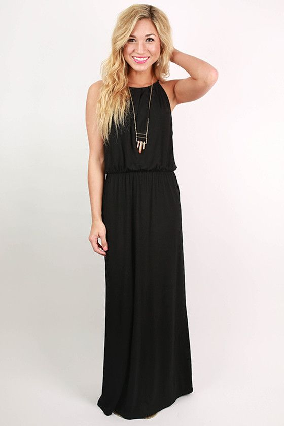 Black Maxi Dress with Pockets | Happy, Maxi dresses and Basic