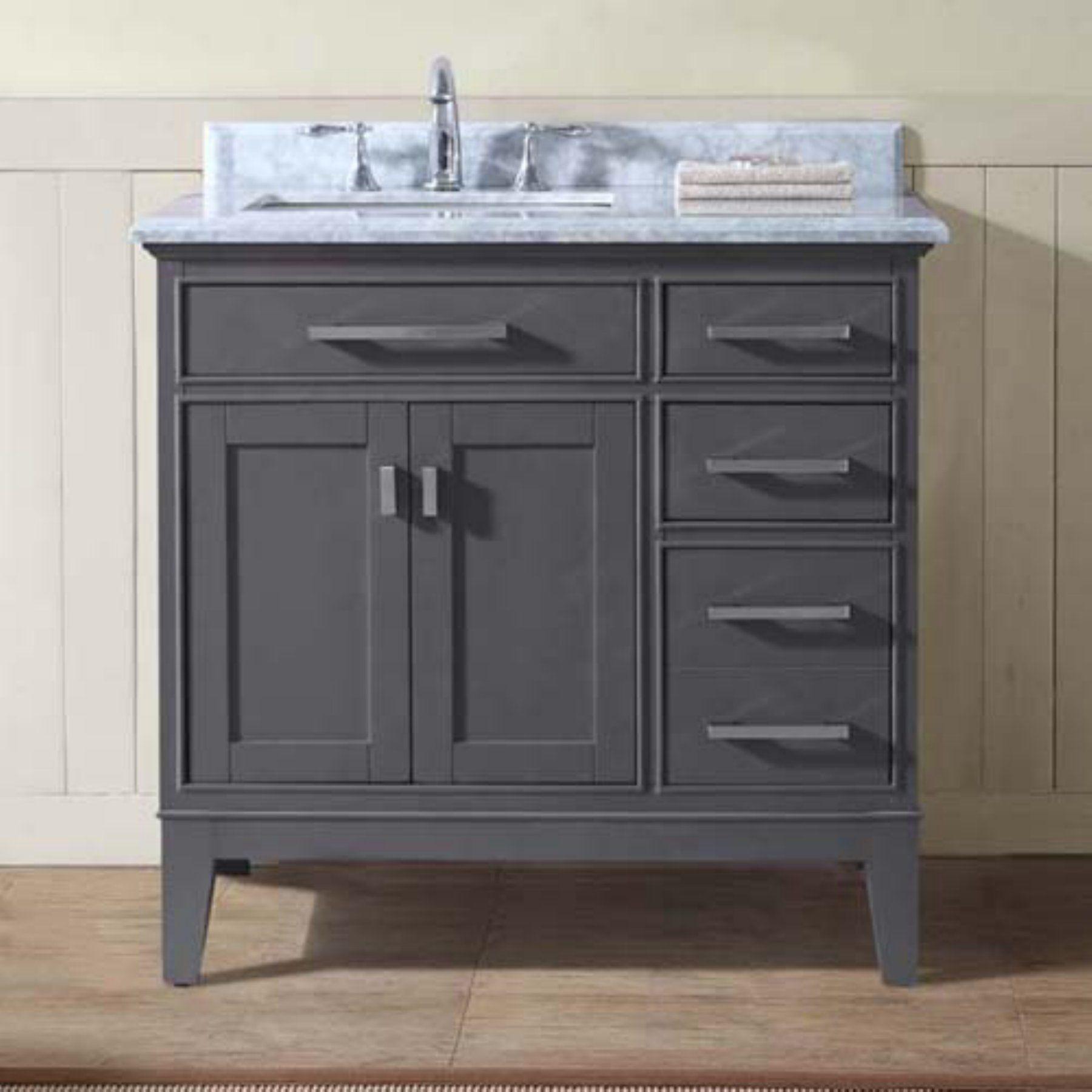 Sets bathroom vanity ari kitchen second - Ari Kitchen And Bath Danny 36 In Single Bathroom Vanity Set Maple Gray