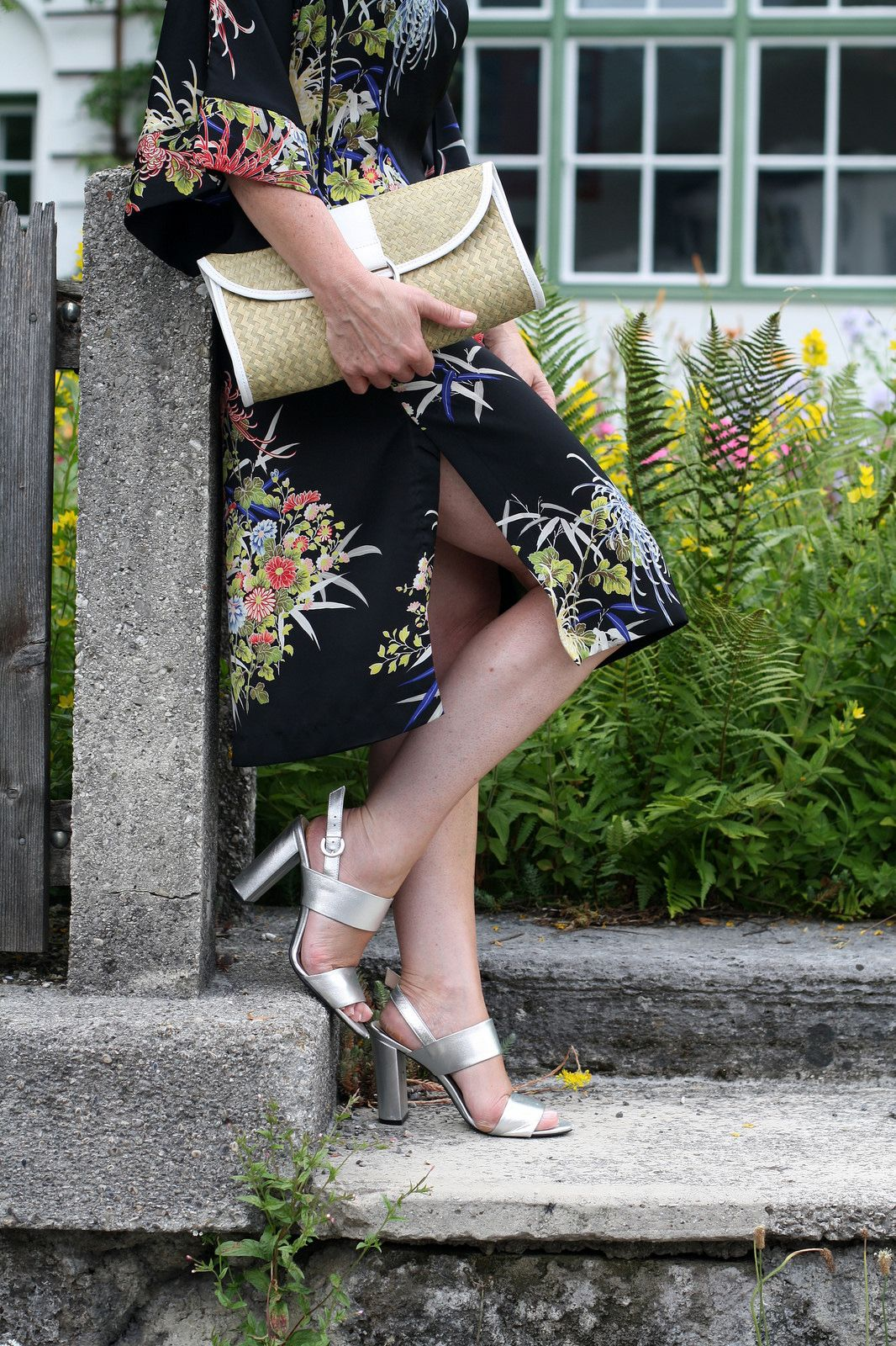 Summer dress in tropical floral prints