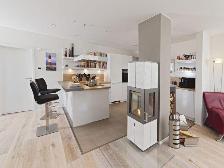 Moderne Küche offen mit Theke  Kamin - Küchen Ideen Einrichtung