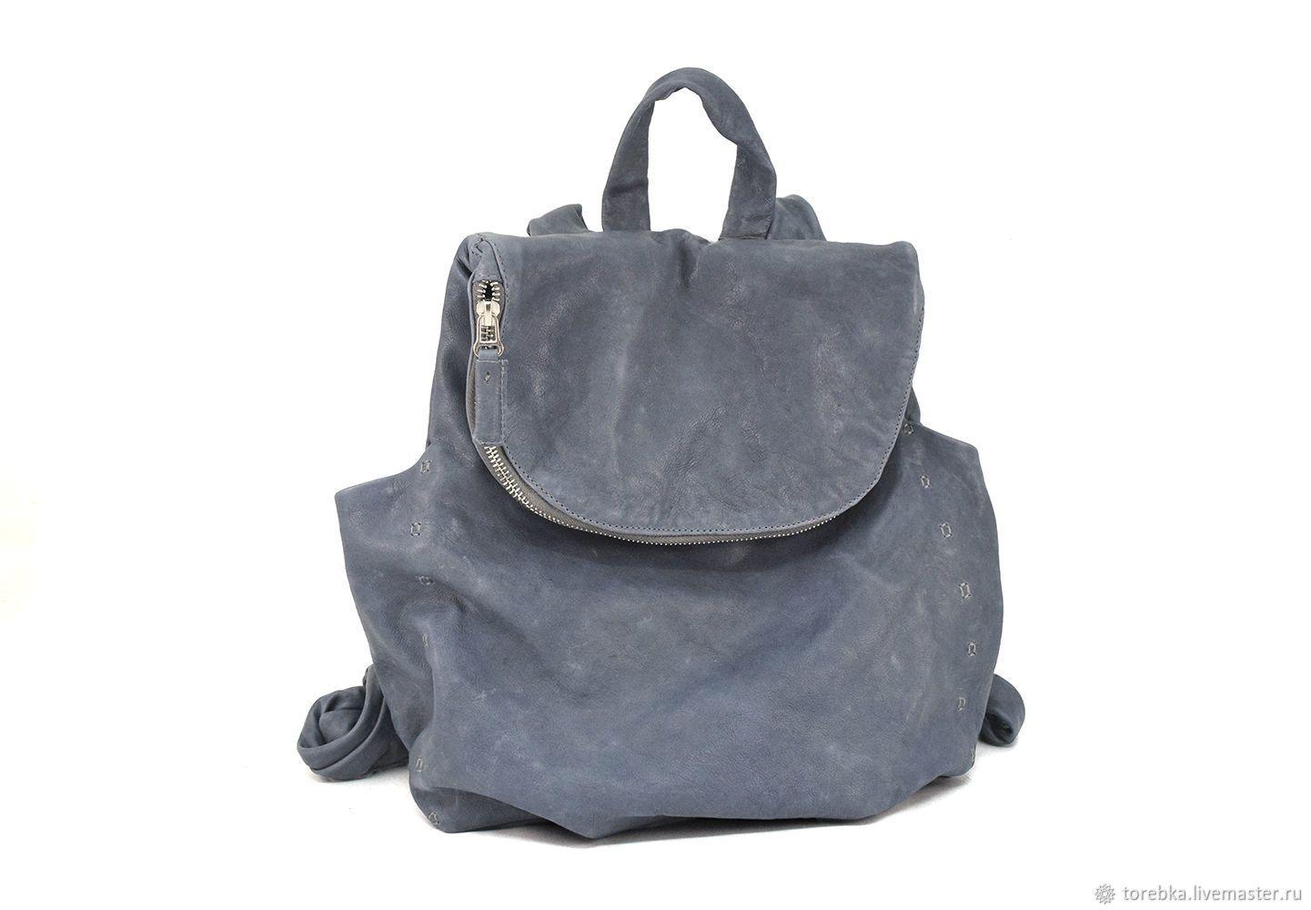 Женский сине-серый кожаный рюкзак на молнии - купить или заказать в интернет -магазине на Ярмарке Мастеров - GNHRVRU. Львов   Доставка включена в  стоимость ... 91f88d45432
