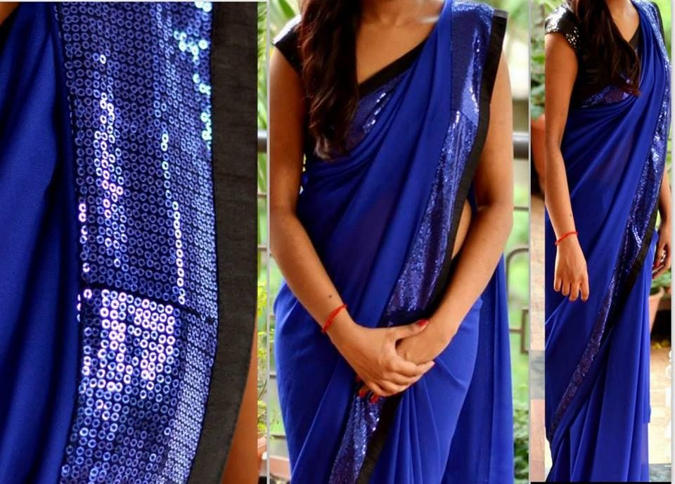 6caeccac314a01 Blue georgette saree with blue sequins & black border Comes with black  sequence unstitched blouse