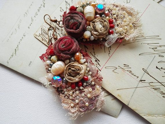 Shabby chic burgundy earrings burgundy victorian by PintOfTint