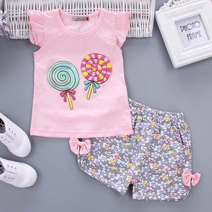 Lollipop Pattern Fly Sleeve Two Pieces Set  Toddler Clothing Toddler   Girls Clothes Toddler Girls  Clothing Toddler Girl and Toddler Boy Clothes  Toddler ... d4c2765d9fa