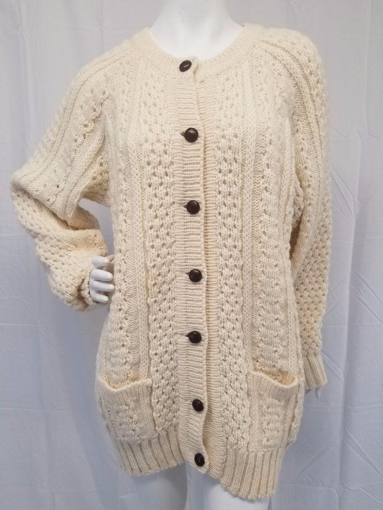 Rosmuc Knitwear 100 Wool Irish Fisherman Cardigan Sweater Connemara