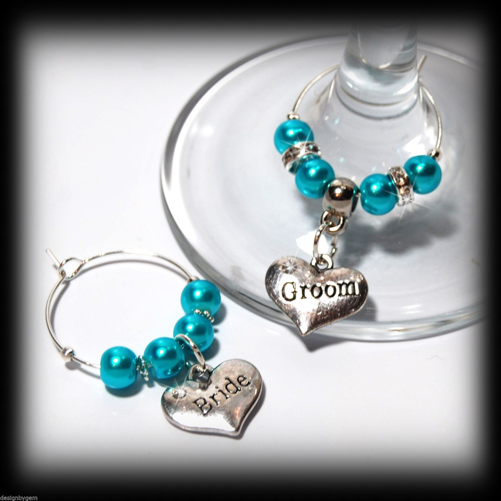 Beautiful Hot Turquoise wedding wine glass charms for top table or ...