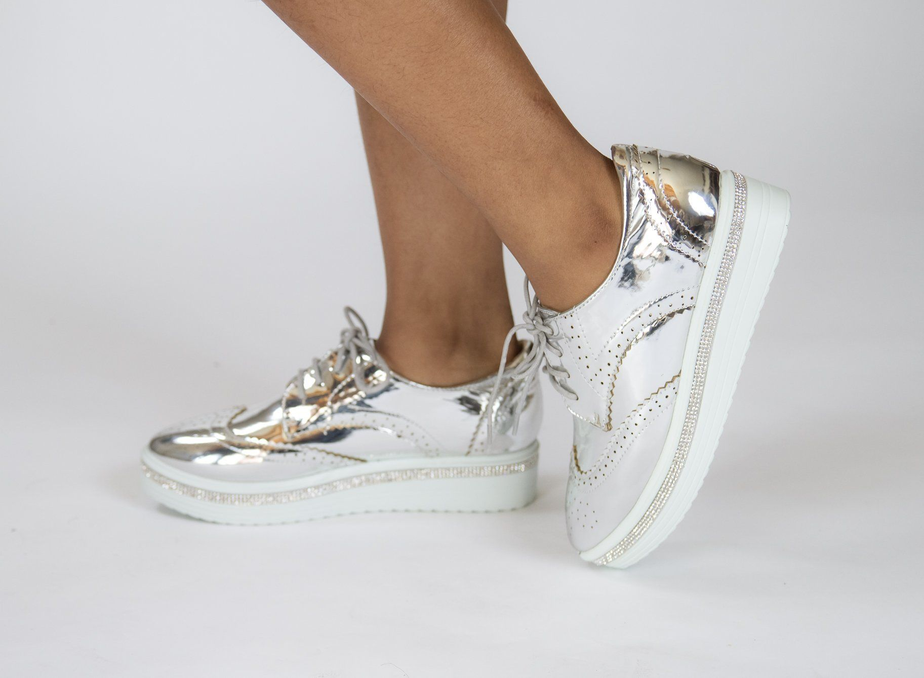 29c9a7a8166871 Krixie Silver Bling Platform Oxford Shoes