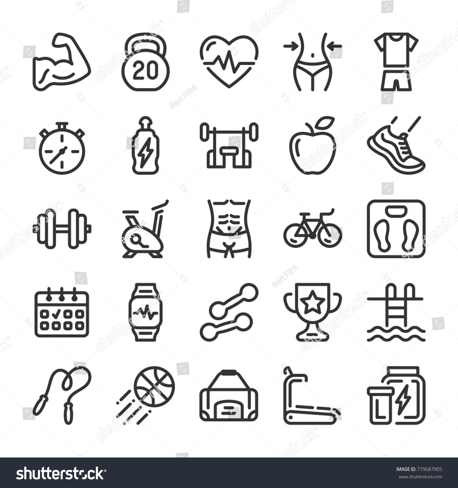 Fitness and sport icons set. Healthy lifestyle symbols