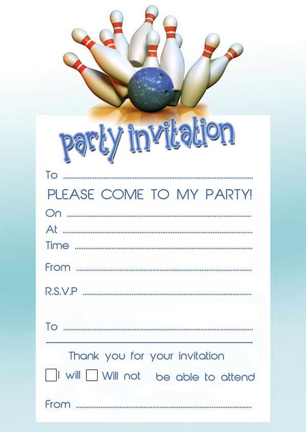 20 Bowling Birthday Party Invites - Toppers \ Invites Party - free template for birthday invitation
